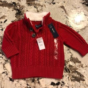 Baby Gap Red Faux Fur Sherpa Sweater 3-6 Mo Xmas